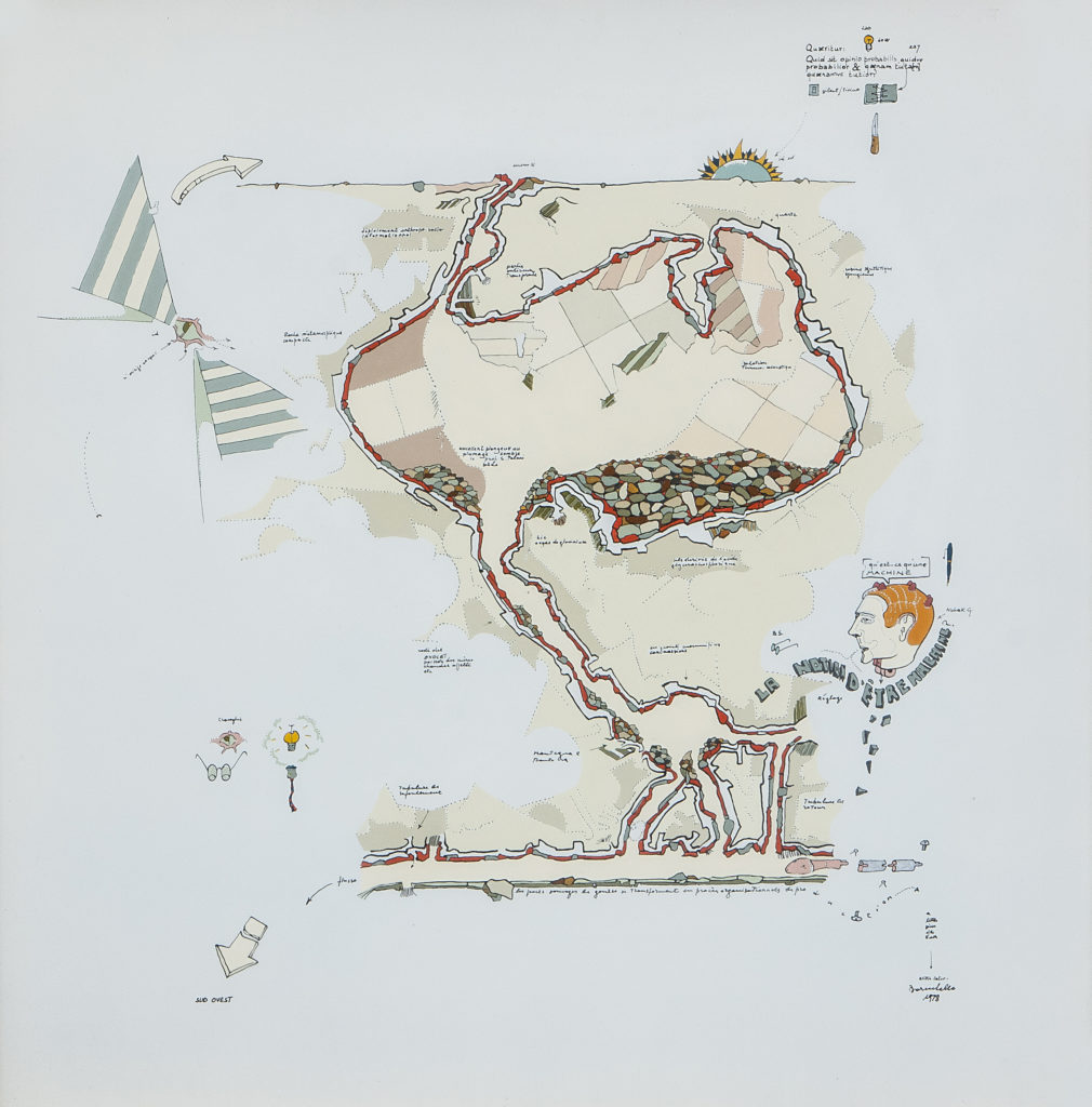 Agricola Cornelia. Cross section with underground systems, 1978. Émaux industriels, porcelaine sur aluminium, 40 x 40 cm. Fondation Baruchello, Rome, Italie.