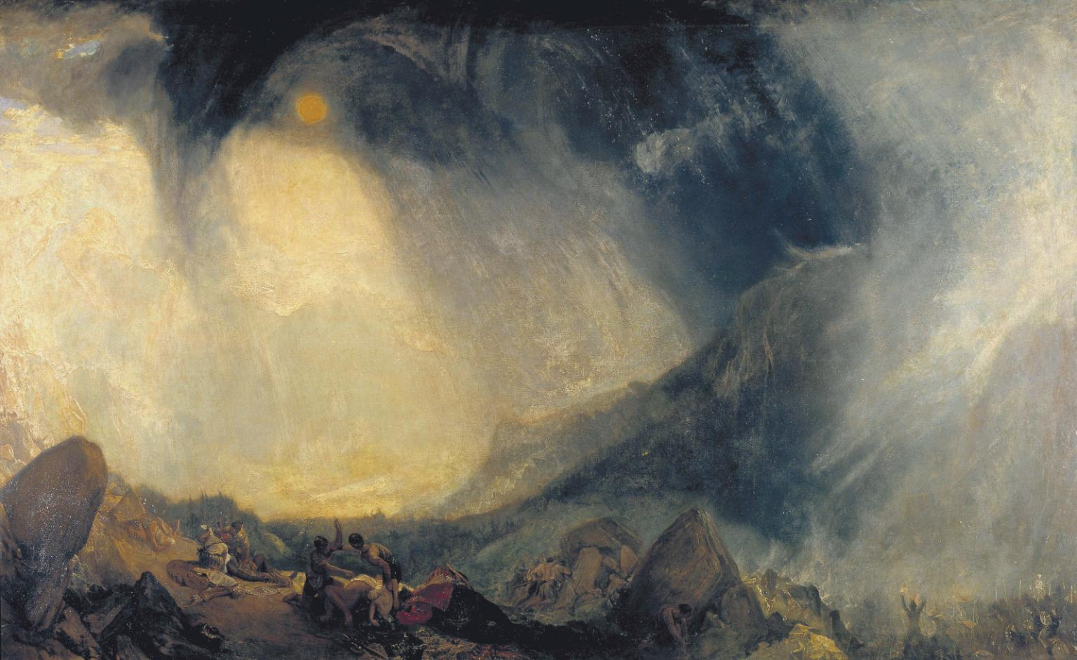 Snow Storm: Hannibal and his Army Crossing the Alps, exhibited 1812, Joseph Mallord William Turner, huile sur toile